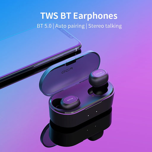 Wireless Bluetooth 5.0 Headset with 2 Microphones QCY T2C-RX TWS, 3D Stereo, Power Bank Case