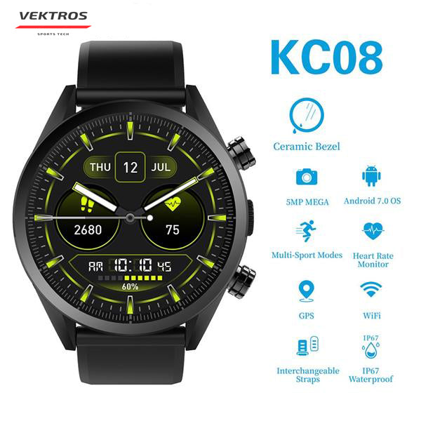 Smart Watch Kingwear Vektros KC08, 4G, Android 7.1, iOS, Heart Rate, 5MP Camera, 1GB RAM, 610mAh battery, IP67 Waterproof, Ceramic Hull