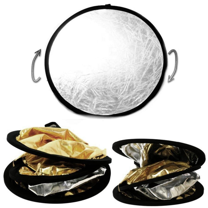 Portable folding round photo reflectors, 60cm