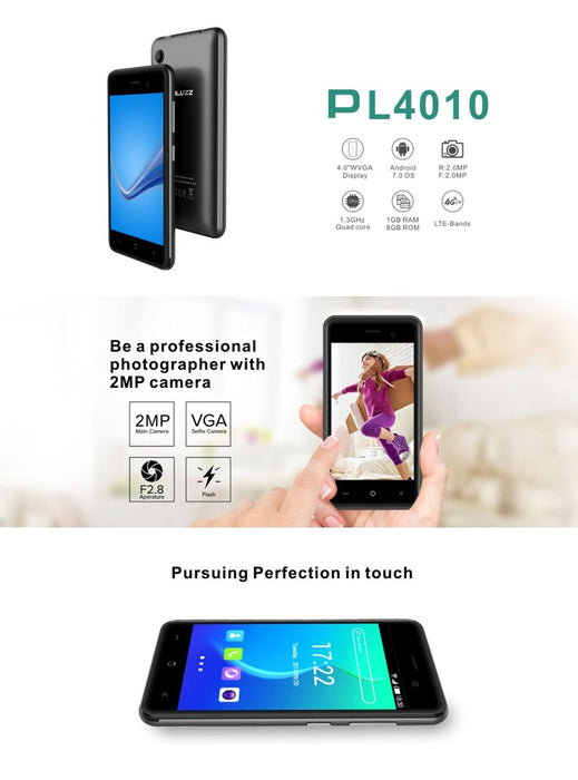 PL4010 4G smartphone PLUZZ, 1GB RAM, 8GB ROM, 2.0MP