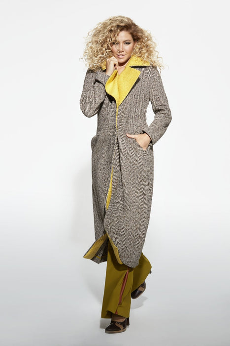 Yellow Colored Neck Coat
