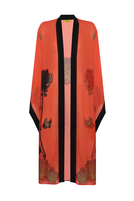 Baggy Sleeve Cotton-Silk Long Kimono - Salmon Color Leopard