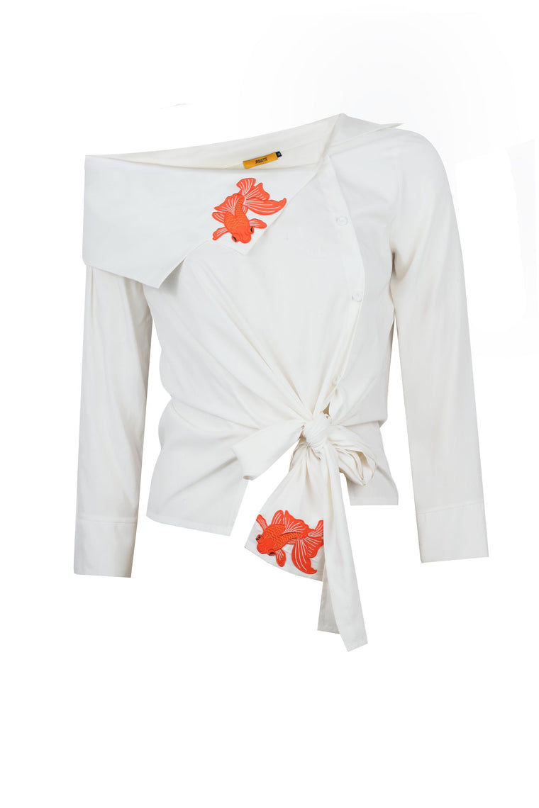 Asymmetric Collar Shirt with Goldfish Embrodiery