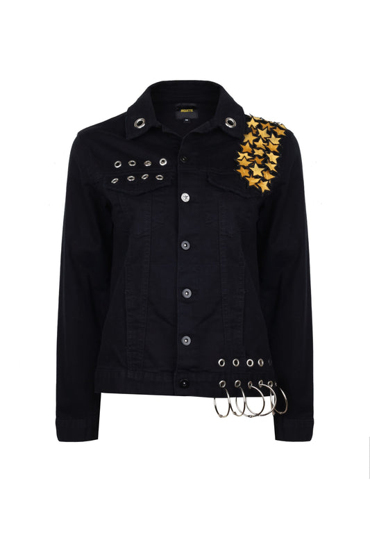 Cotton Jean Jacket Sequined With Stars & Lip