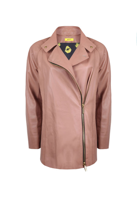 Powder colored leather jacket