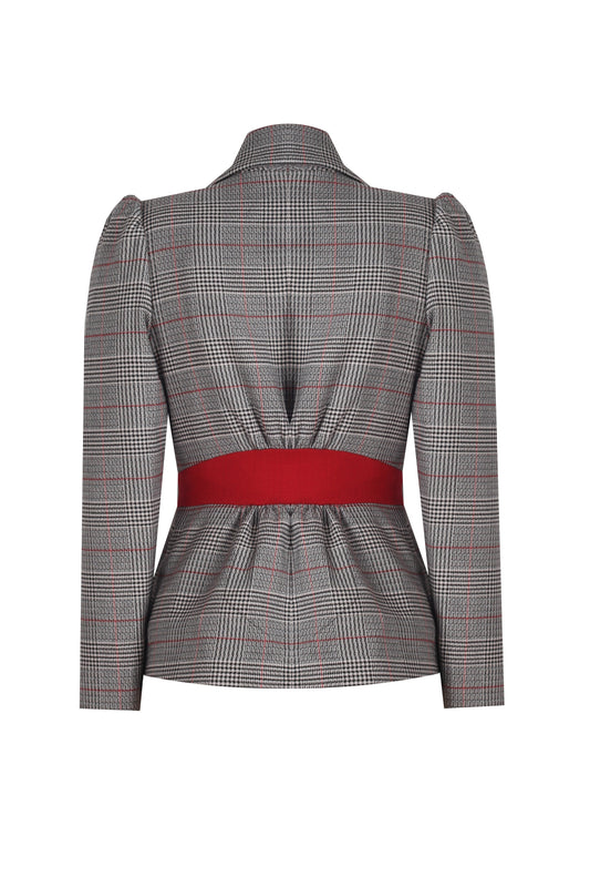 SHAWL COLLAR - RED PLAID JACKET