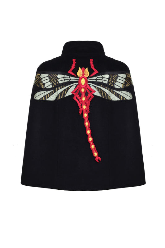 BLACK WOOL CAPE WITH DRAGONFLY EMBROIDERY