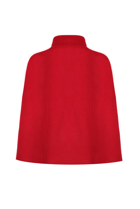 RED CASHMERE CAPE WITHOUT DRAGONFLY EMBROIDERY