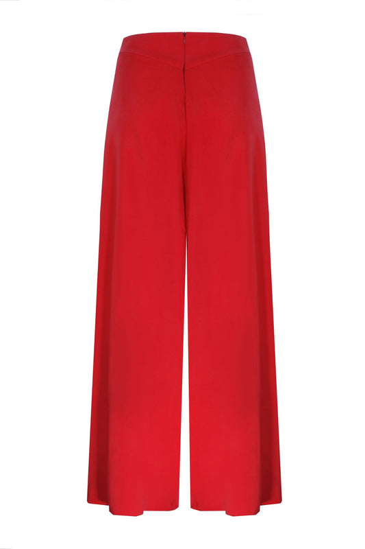 Scarlet Colored Flared Trousers