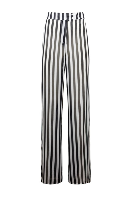 THICK STRIPED WIDE LEG TROUSERS