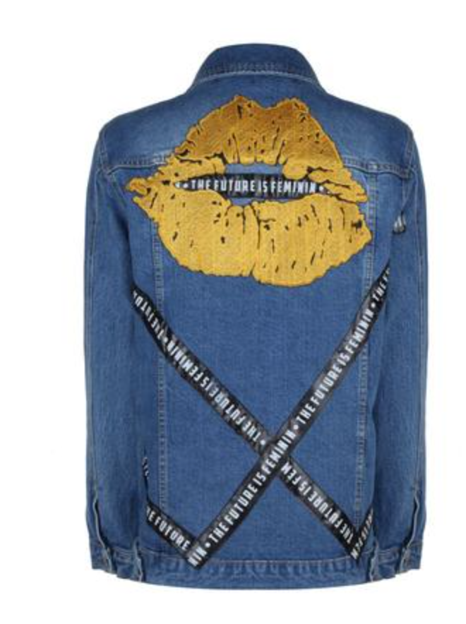 The Future Feminin Lip Embroidered Jean Jacket - 504