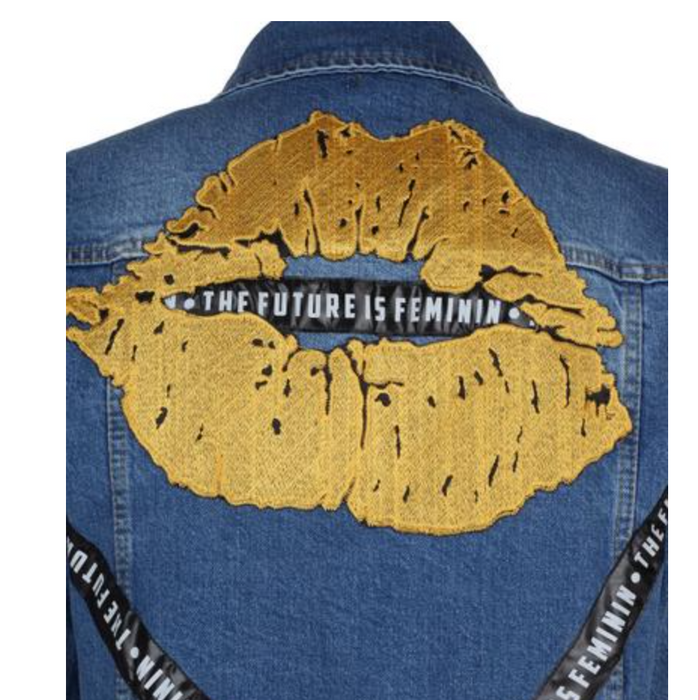 THE FUTURE FEMININ LIP EMBROIDERED JEAN JACKET