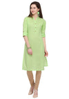 Bombay Diva Light Green Solid Cotton Straight Fit Casual Kurta