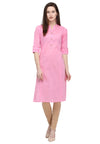 Bombay Diva Light Pink Solid Cotton Straight Fit Casual Kurta