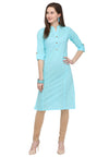 Bombay Diva Sky Blue Solid Cotton Sraight Fit Casual Kurta