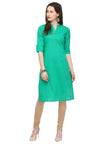 Bombay Diva Green Solid Cotton Straight Fit Casual Kurta