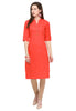 Bombay Diva Orange Solid Cotton Straight Fit Casual Kurta