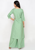 Bombay Diva Women's Green Block Print Kurta And Palazzo Set