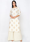 Bombay Diva Women's Off White Block Print Kurta And Palazzo Ethnic Set