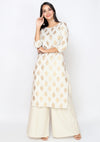 Bombay Diva Women's Off White Block Print Kurta And Palazzo Set