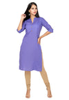 Bombay Diva Purple Solid Cotton Straight Fit Casual Kurta