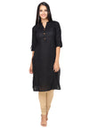 Bombay Diva Black Solid Cotton Straight Fit Casual Kurta