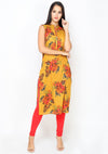 Bombay Diva Yellow Printed Cotton Straight Fit Casual Kurta