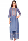 Bombay Diva Women's Blue Block Print Kurta And Palazzo Set