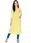 Bombay Diva Embroidered Solid Rayon Flared Kurta