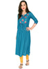Bombay Diva Embroidered Blue Rayon Flared Kurta