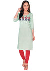 Bombay Diva Embroidered Green Linen Straight Fit Casual Kurta