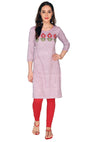 Bombay Diva Embroidered Purple Linen Straight Fit Casual Kurta
