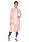 Bombay Diva Peach Stripe Printed Straight Fit Casual Kurta