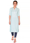 Bombay Diva Blue Stripe Printed Straight Fit Casual Kurta