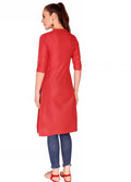 Bombay Diva Red Solid Cotton Straight Fit Casual Kurta