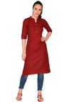 Bombay Diva Maroon Solid Cotton Straight Fit Casual Kurta
