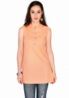 Bombay Diva Peach Solid Cotton Sraight Fit Casual Kurti