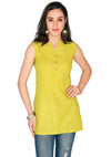 Bombay Diva Green Solid Cotton Sraight Fit Casual Kurti