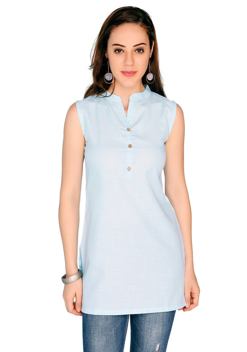 Bombay Diva Blue Solid Cotton Sraight Fit Casual Kurti