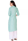 Bombay Diva Green Printed Cotton Straight Fit Casual Kurta