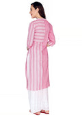 Bombay Diva Pink Printed Cotton Straight Fit Casual Kurta
