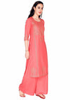 Bombay Diva Women's Peach Block Print Kurta And Palazzo Set
