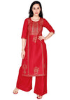 Bombay Diva Women's Red Block Print Kurta And Palazzo Set