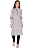 Bombay Diva Grey Stripe Printed Straight Fit Casual Kurta