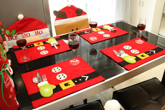 Christmas Santa Claus Costume Dinner Table Mats