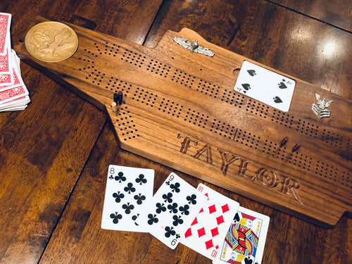 Aircraft Carrier Cribbage board - Triple Crown Woodworks