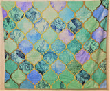 <即納品>タペストリー Cool Jade & Icy Mint Decorative Moroccan Tile Pattern by Micklyn 約150cm×約127cm