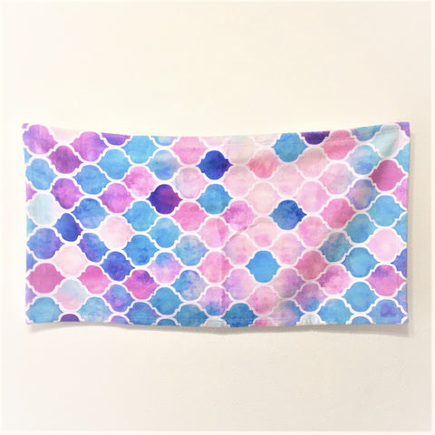 <即納品>フェイスタオル Rainbow Pastel Watercolor Moroccan Pattern by micklyn 約76cm×約38cm