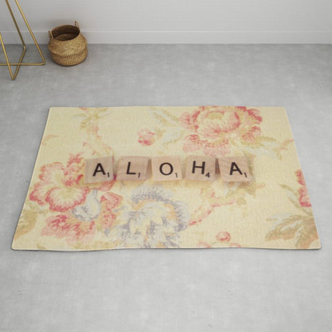 <即納品>ラグマット Aloha by Christine Hall 約120cm × 約183cm