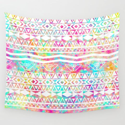 タペストリー Aztec Splash | White Tribal Abstract Aztec Neon Rainbow Splatters by Girly Trend